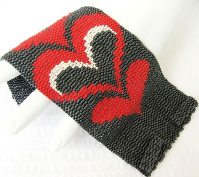 Dramatic Modern Bargello Heart by SandFibers