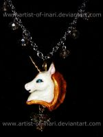Gilded Unicorn and Crystal Necklace by KT-Silver