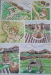 Page for Mighty Mau comic in watercolor by Garouza