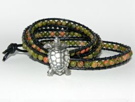 The Grassy Knoll, 4 Wrap Bracelet, Unakite Gemston by Secretvixen