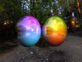 Raytraced color gradient balls w/ environment map by mcsoftware