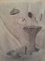 Vase Still Life in charcoal maybe in 2000 by Aurora9912
