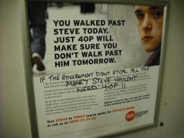 Graffitied CentrePoint Advert by betterwatchit