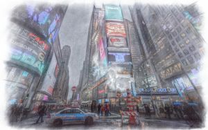 NYPD on Times Square by Tomoji-ized
