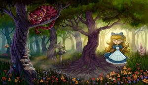 Alice Meets the Cheshire Cat by feliciacano