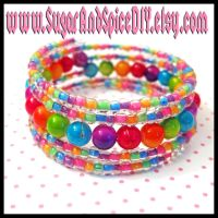 Rainbow Bead Bracelet by SugarAndSpiceDIY