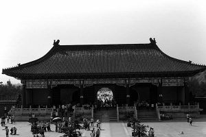 China Pekin temple of Heaven gate 1970s by BlackWhitePictures