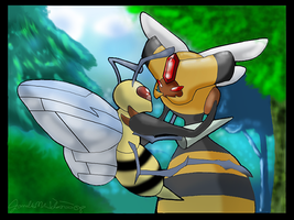 Vespiquen and Beedrill 2008 by WeisseEdelweiss