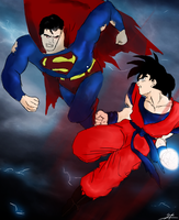 Goku Vs Superman by ArchXAngel20