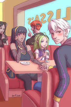 Lissa's Cafe (with Robin, Tharja, Nowi, et al.) by xMrNothingx