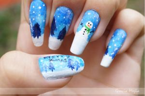 snowman nails by yuki365