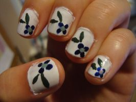 Little Blue Flower Nails by luminousleopard
