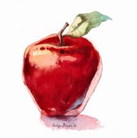 Watercolour apple by SatynaPaper