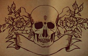 Skull and Flowers Outline by Abbie-ox