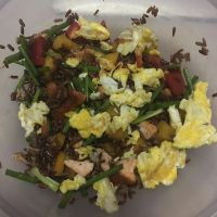 Red Rice with Salmon and Eggs by nosugarjustanger