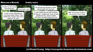 Men on a Bench - Public toilet by Renegade-Hamster