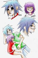 2-D and Noodle Doodles XD by Foxysuji