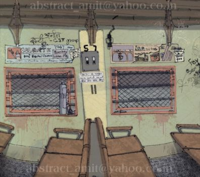 mumbai local compartment by abstractamit