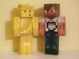 Minecraft Papercraft - PewDiePie and Stephano by x0xChelseax0x