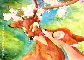 Twitterpated Bambi and Faline by zarielcharoitite