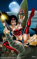 American Icon vs. Nazis Pin-Up by Superheroine-Art