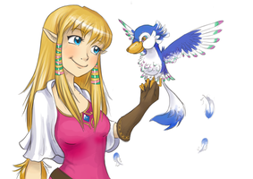 Zelda and a baby Loftwing by RoseLight1993