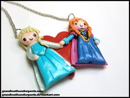 Elsa and Anna Necklace by GrandmaThunderpants