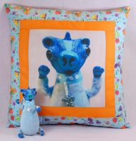 pillow with photo teddy bear by iasio