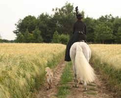 Lady on side saddle and dog back view by Nexu4