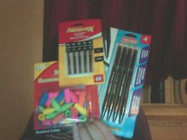 New drawing supplies .: pencils, erasers, lead :. by ShualeeCreativity