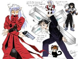 InuYasha as Trigun by DesertViper