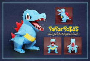 Pokemon  Papercraft - Totodile by PaperBuff