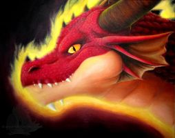 Dragon head oil painting by Lintufriikki