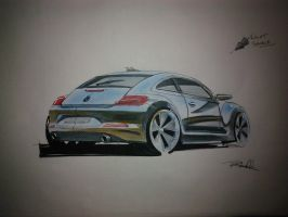 New VW Bug - Copic Marker Render by Benjhs