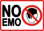 No Emo warning sign by Trelfar
