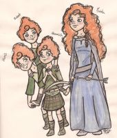 Merida and her brothers by Miamimwa
