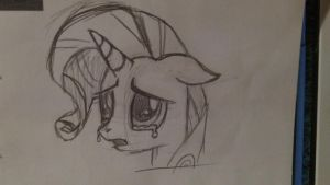 sad rarity- first pony drawn, first DA upload. by DGibsonfre