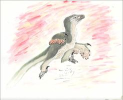 Leaping Deinonychus by WhiskerfaceRumpel