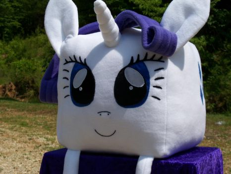 my little pony rarity plush handmade cube plushie by davidbillups