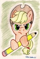 Applejack with a big pencil by SilverSimba01