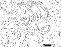 Flower Drakeling Lineart by Nightlyre