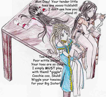 Skuld is Belldandy's and Peorth's Tickle Toy 2 by carrotsama