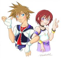 sora and kairi by mishieru