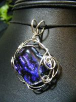 OOAK dichroic glass in silver by BacktoEarthCreations