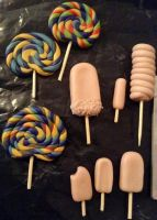 fimo lollies - WIP by woodnutmegg