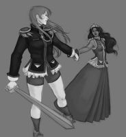 Utena and Anthy WIP by Atsumi-Girl