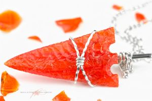 A Very Bright Orange Arrowhead Necklace by DanielAPierce