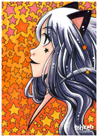Cat Girl in Stars ACEO by tea-bug