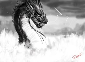 Dragon of Havoc Sketch 7 by WolfSplicer