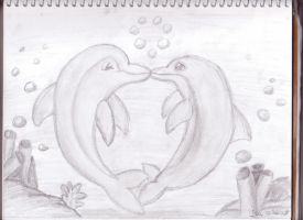 Dolphins in Love by DominosAreFalling